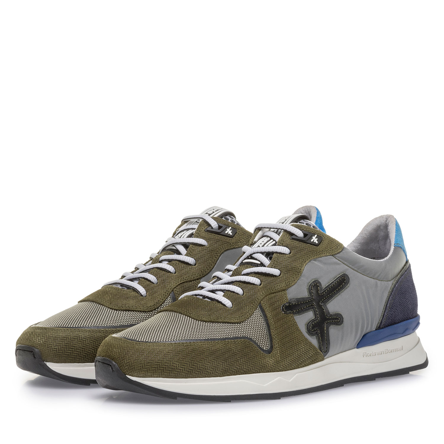 16346/04 - Olive green suede leather sneaker with print