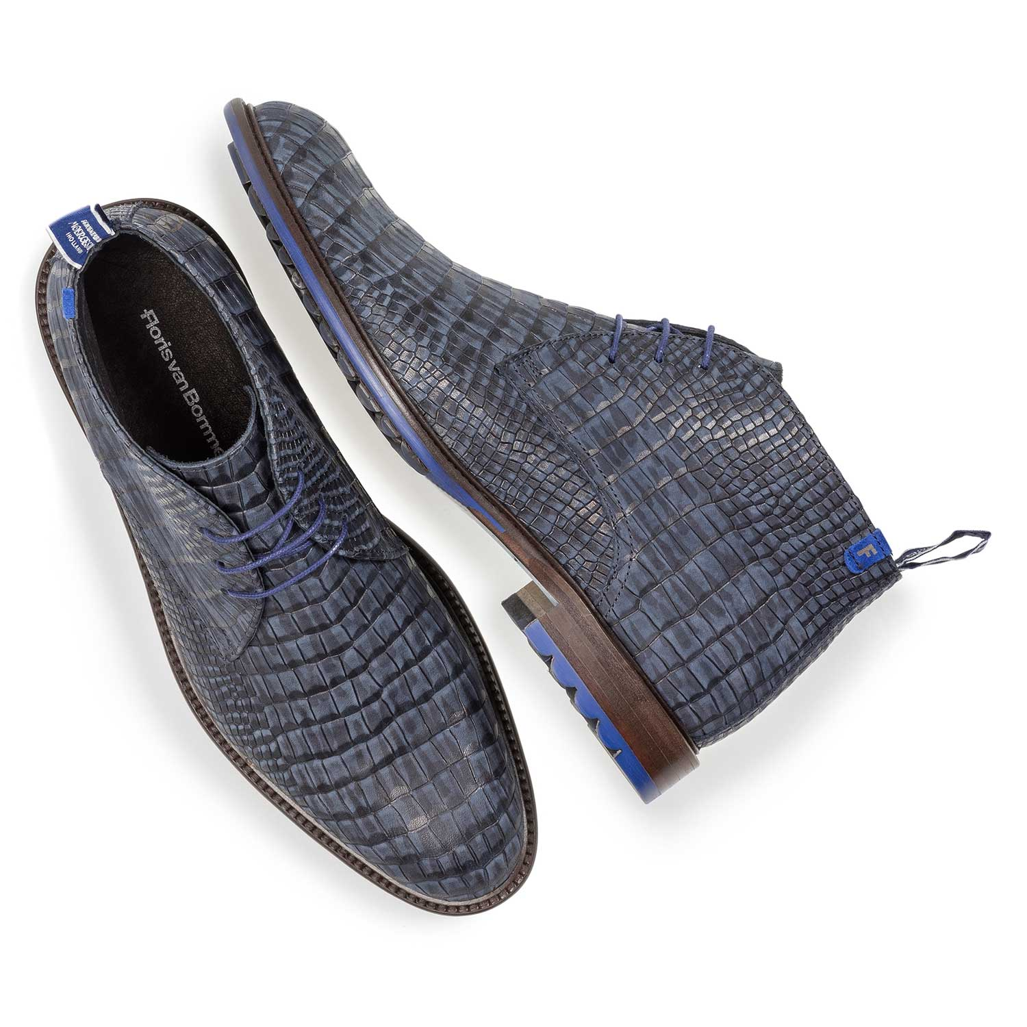 10203/22 - Dark blue nubuck leather lace shoe with croco print