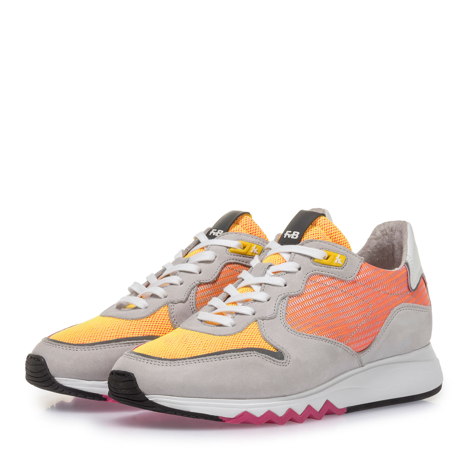 85302/05 - Grey leather sneaker with orange and yellow details