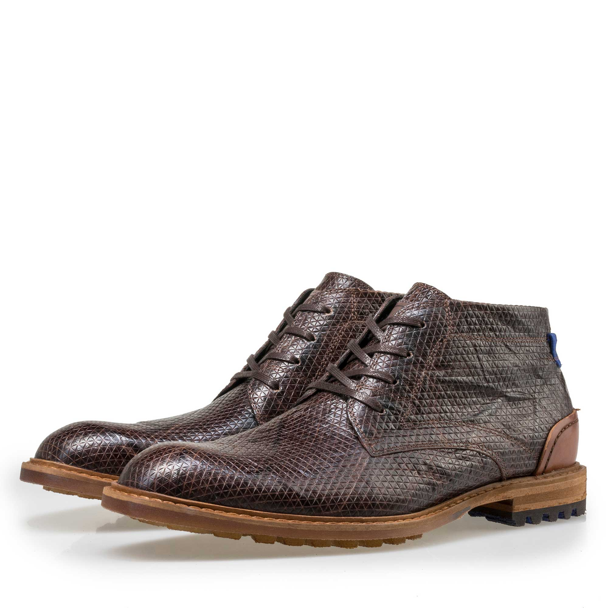 10786/21 - Floris van Bommel men's brown leather lace boot finished with a snake print