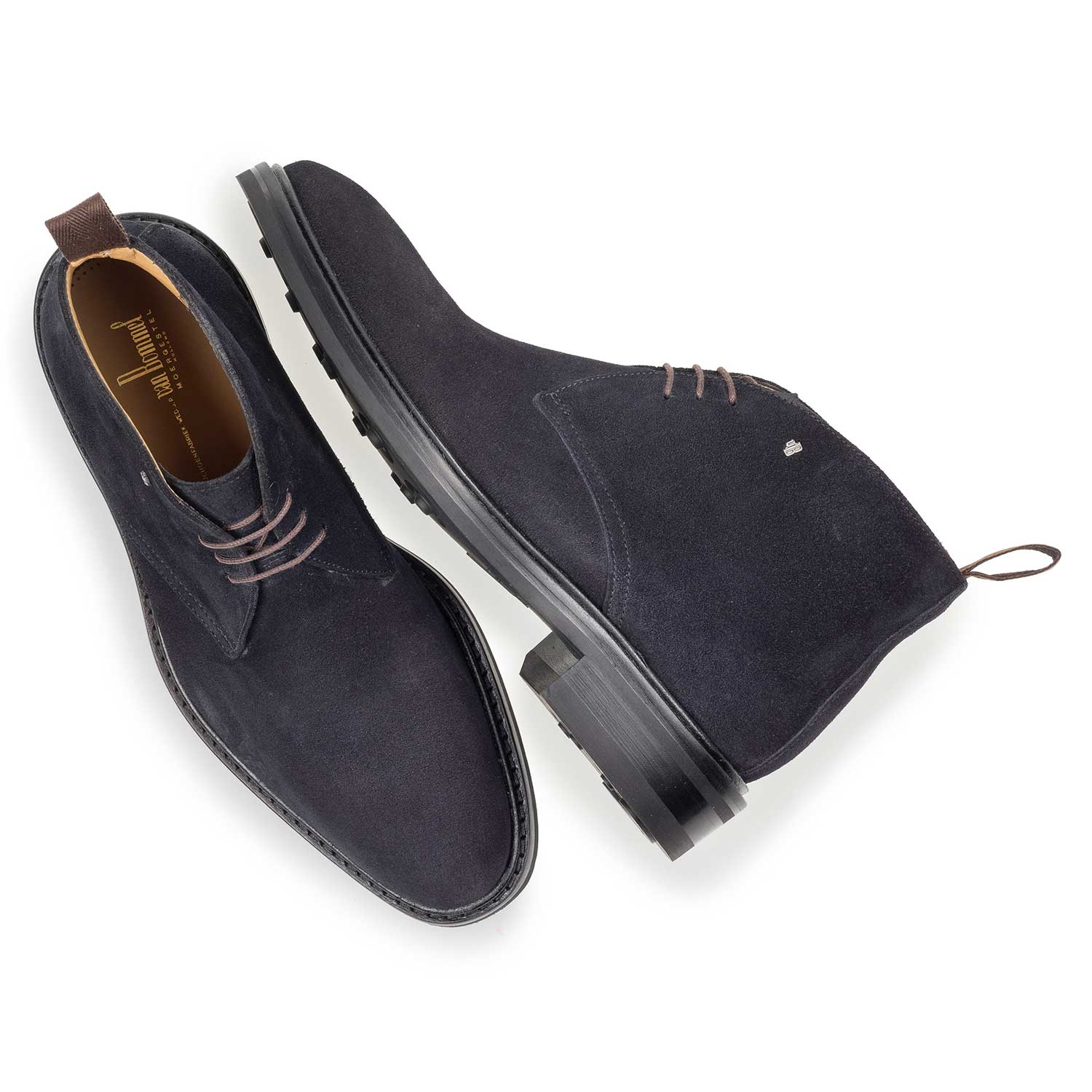 10161/01 - Dark blue suede leather lace boot