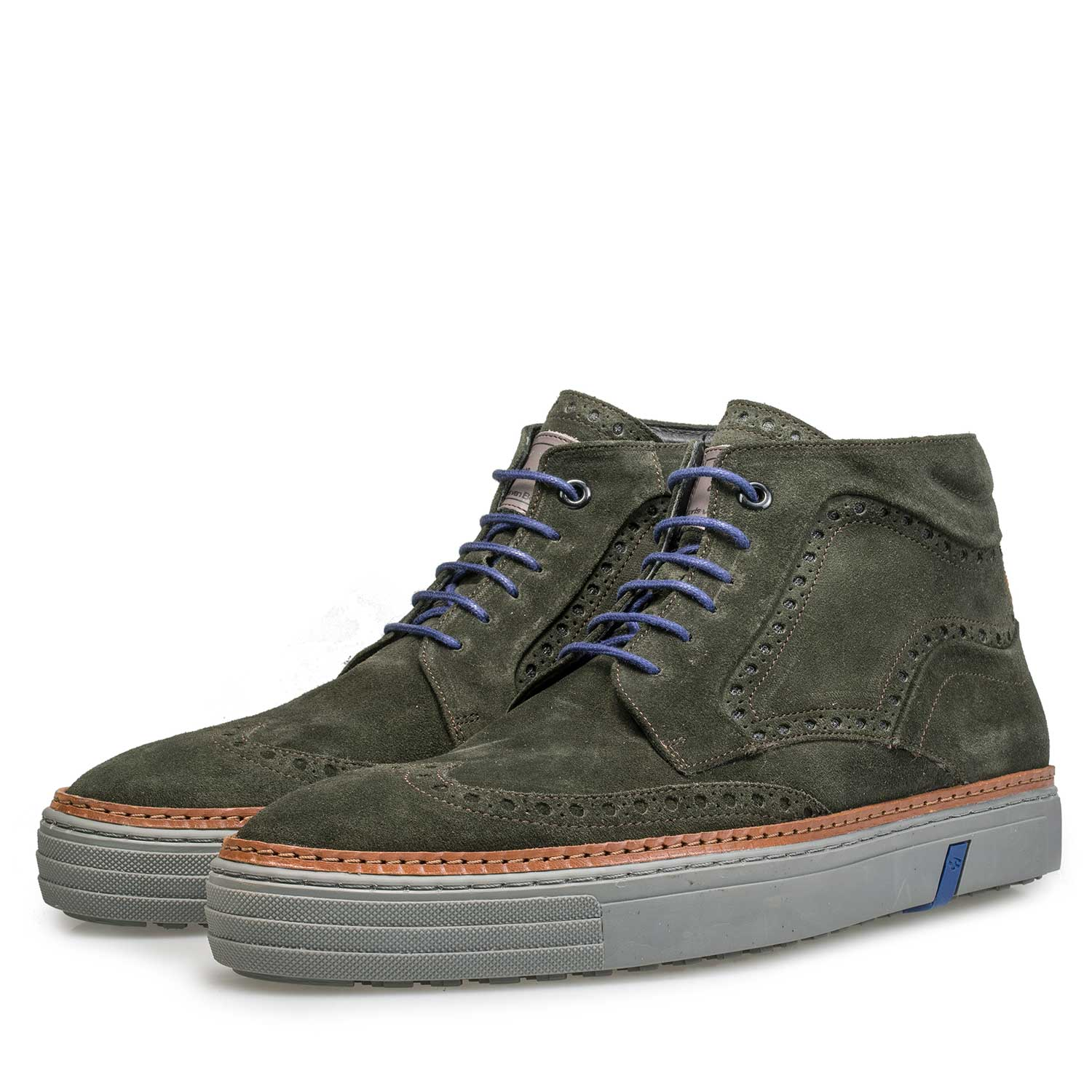 10080/02 - Mid-high olive green brogue sneaker