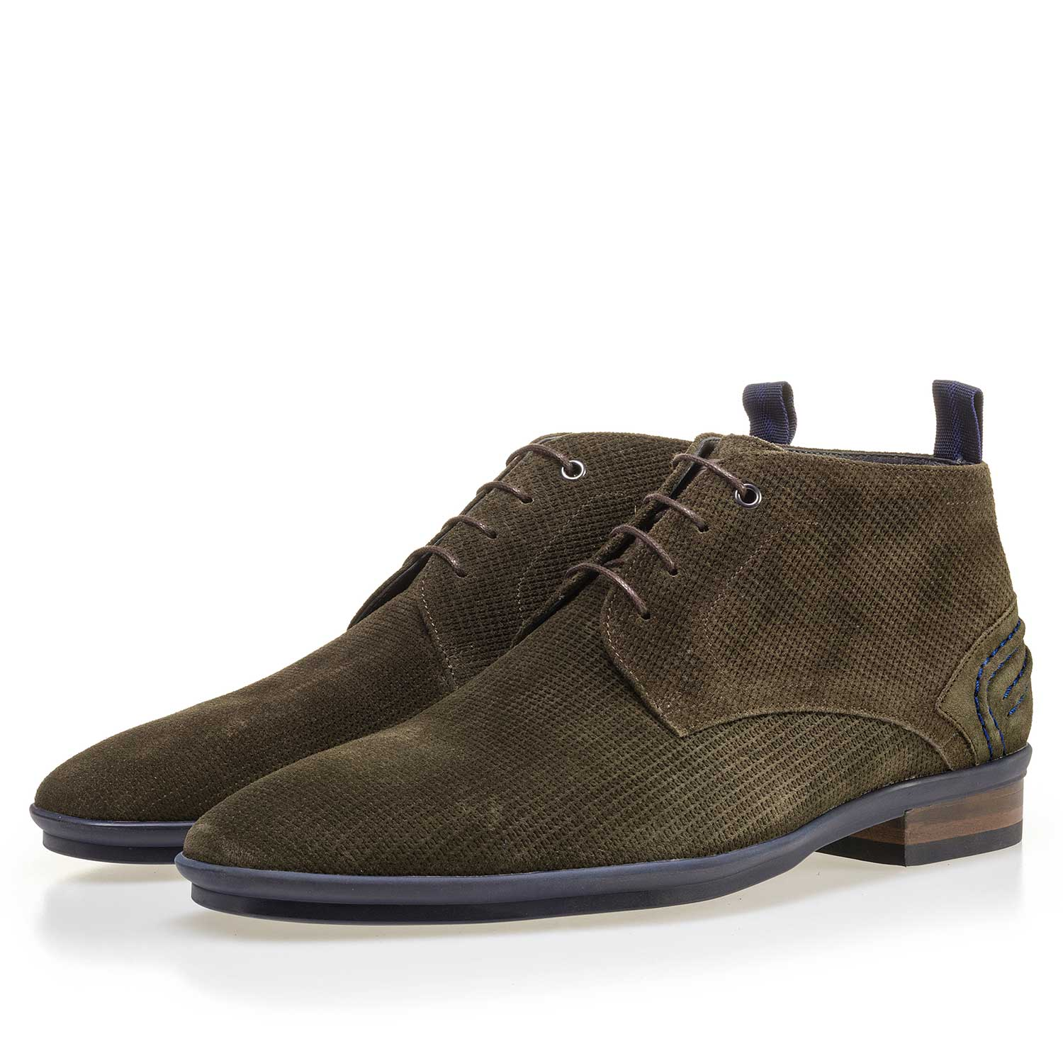 10960/15 - Olive green suede leather lace boot with pattern