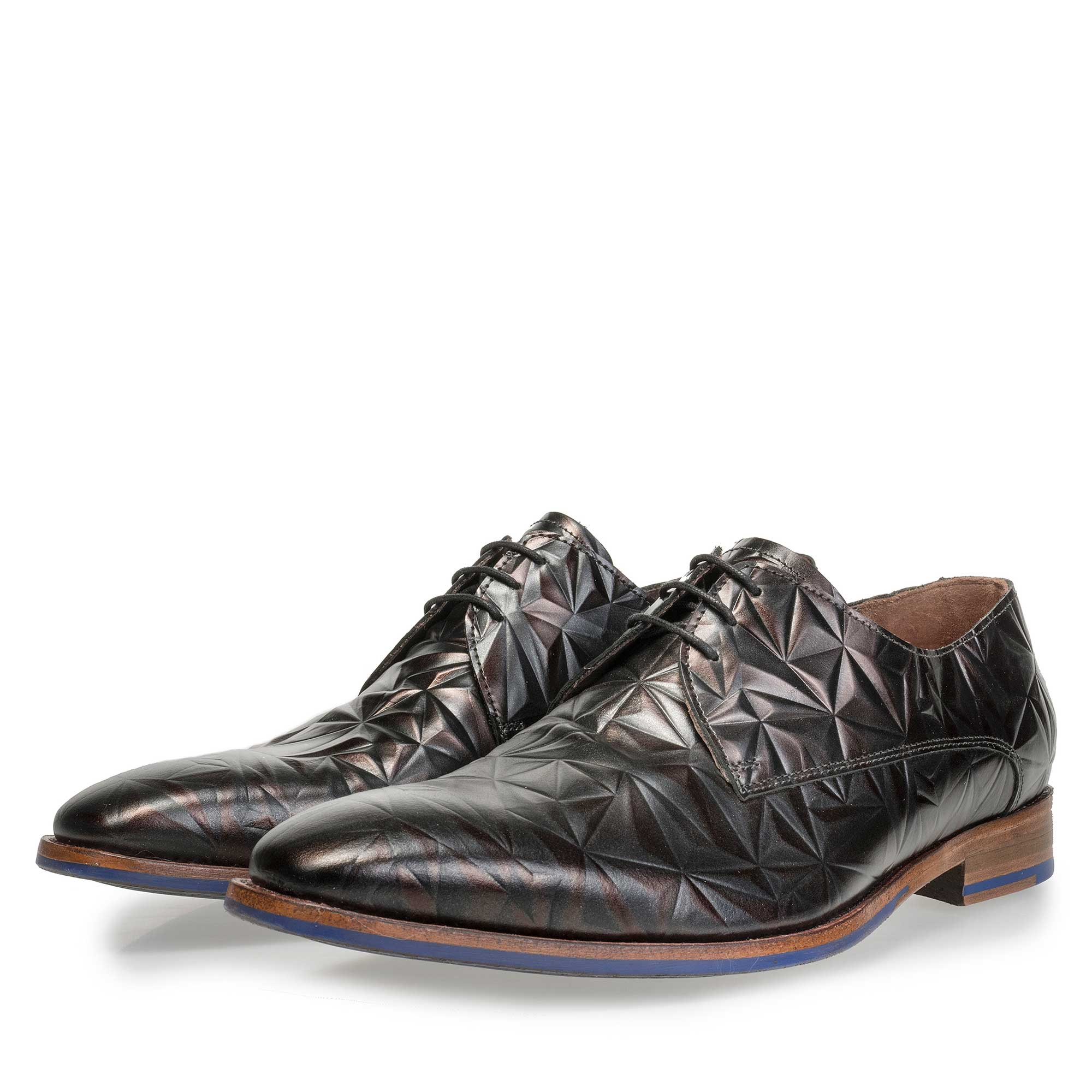 14237/04 - Floris van Bommel men's dark brown leather lace shoe finished with a black 3D print