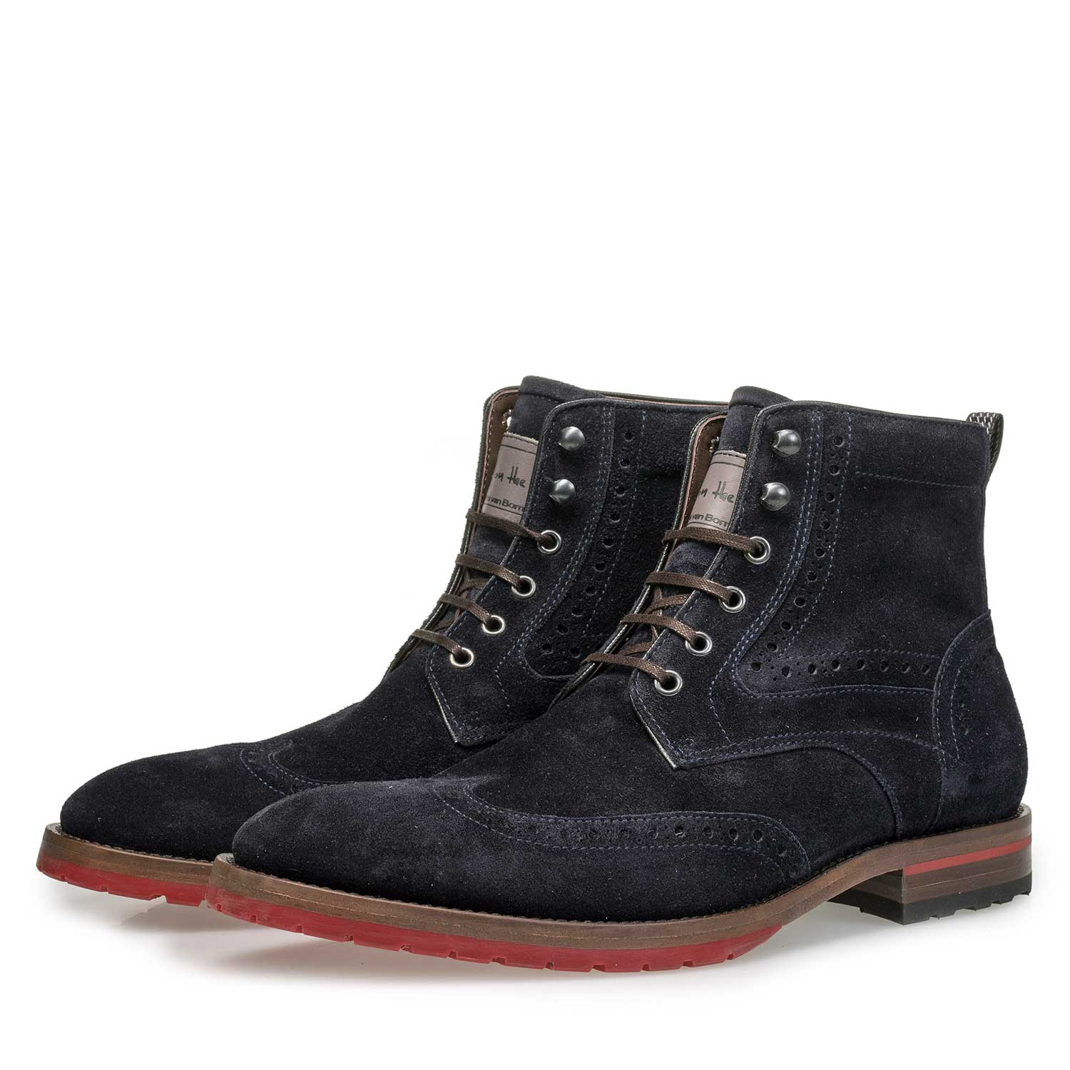 10295/07 - Blue suede leather lace boot with red outsole
