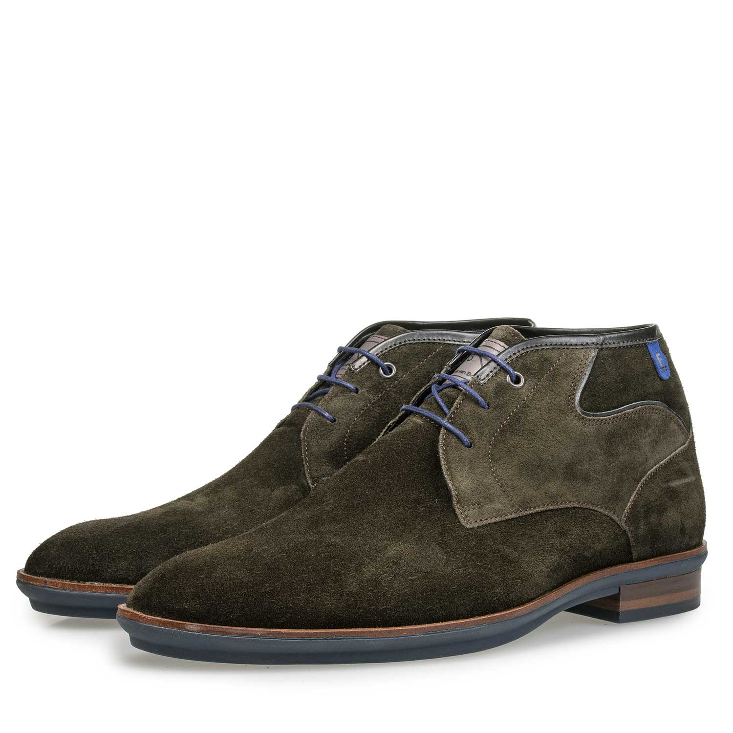 10156/04 - Olive green calf suede leather lace boot