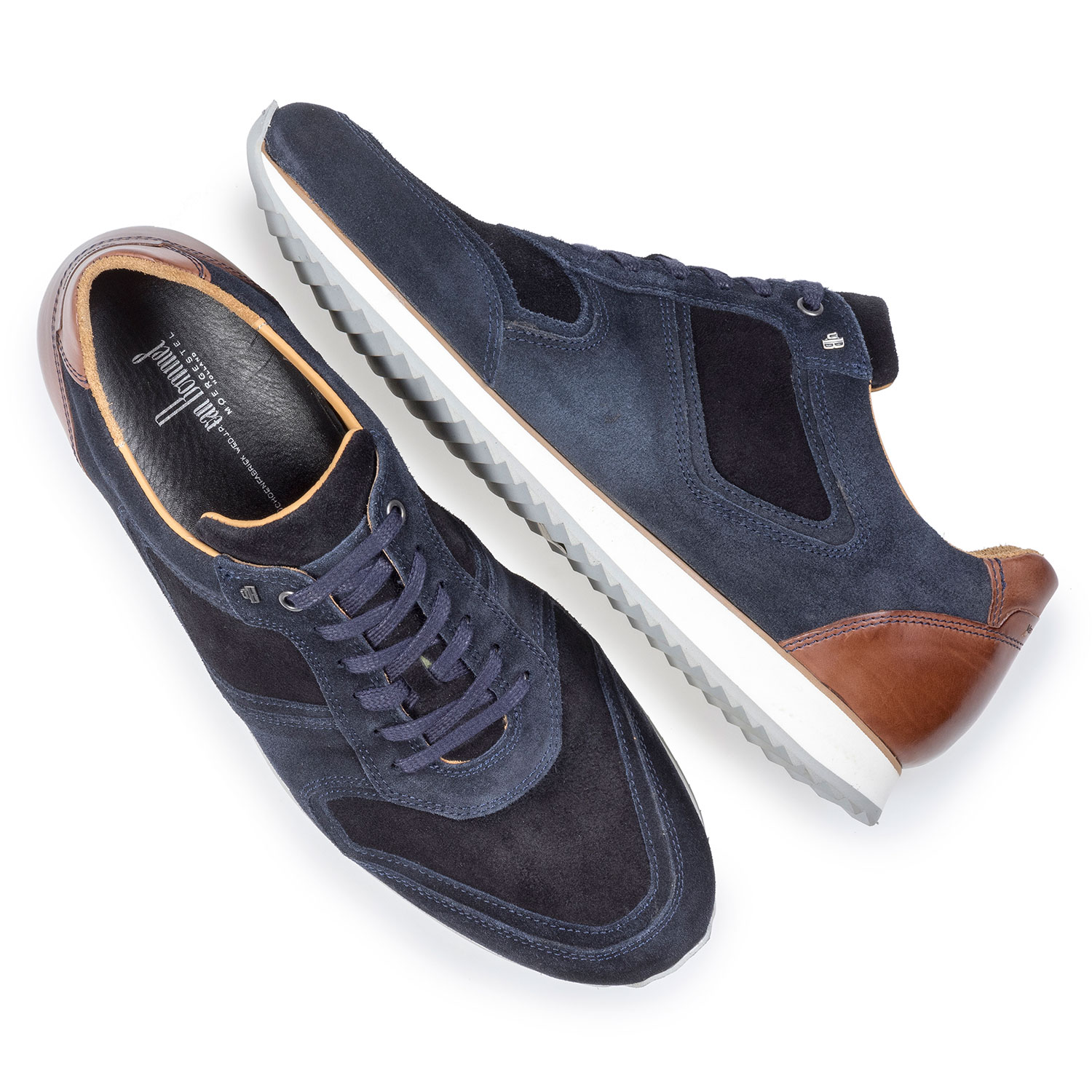 16224/18 - Dark blue suede leather lace shoe
