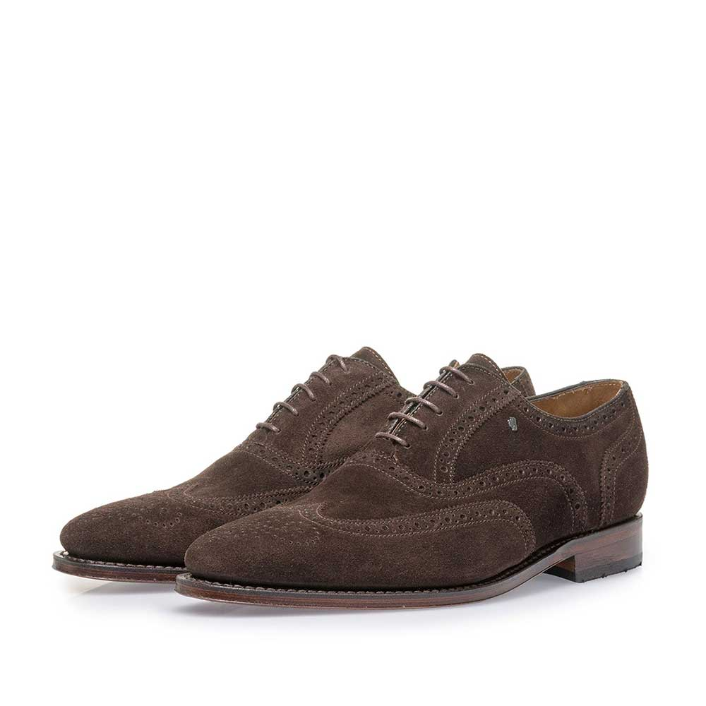 19125/02 - Dark brown suede leather brogue
