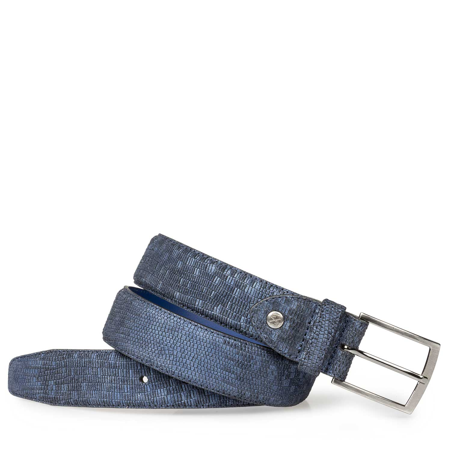 75190/15 - Blue suede leather belt with structural pattern