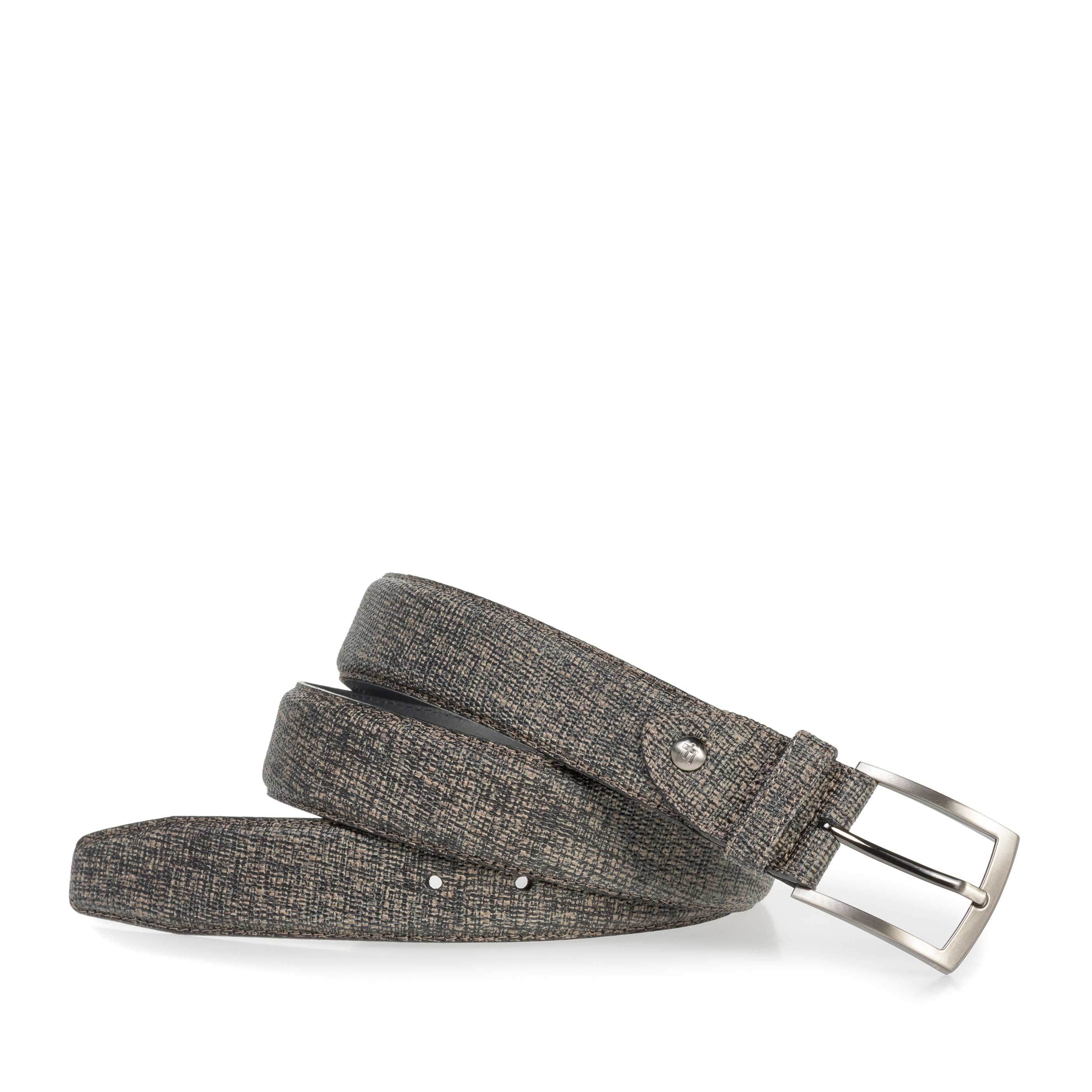 75201/14 - Taupe-coloured leather belt with black print