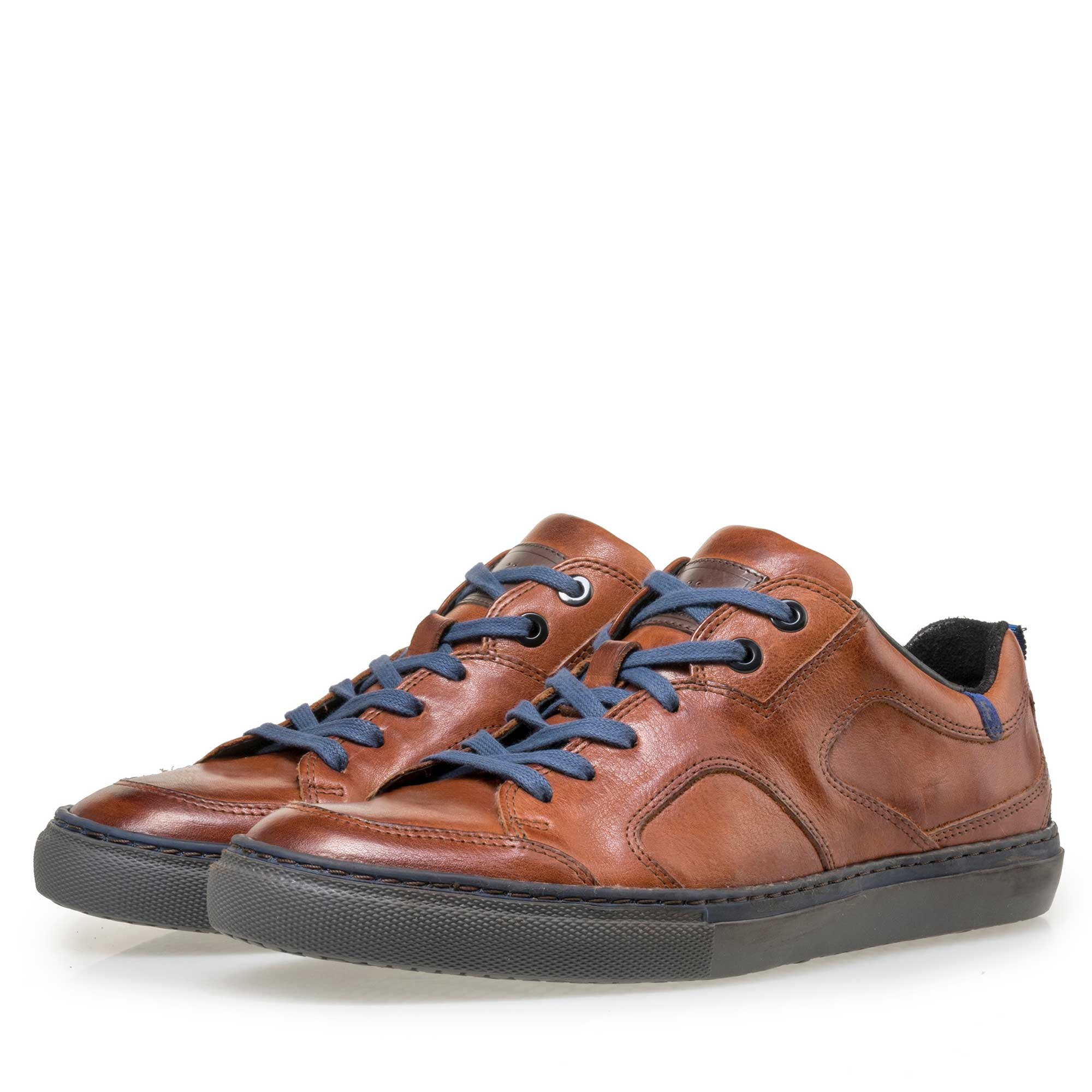 14422/10 - Floris van Bommel men's cognac-coloured leather sneaker