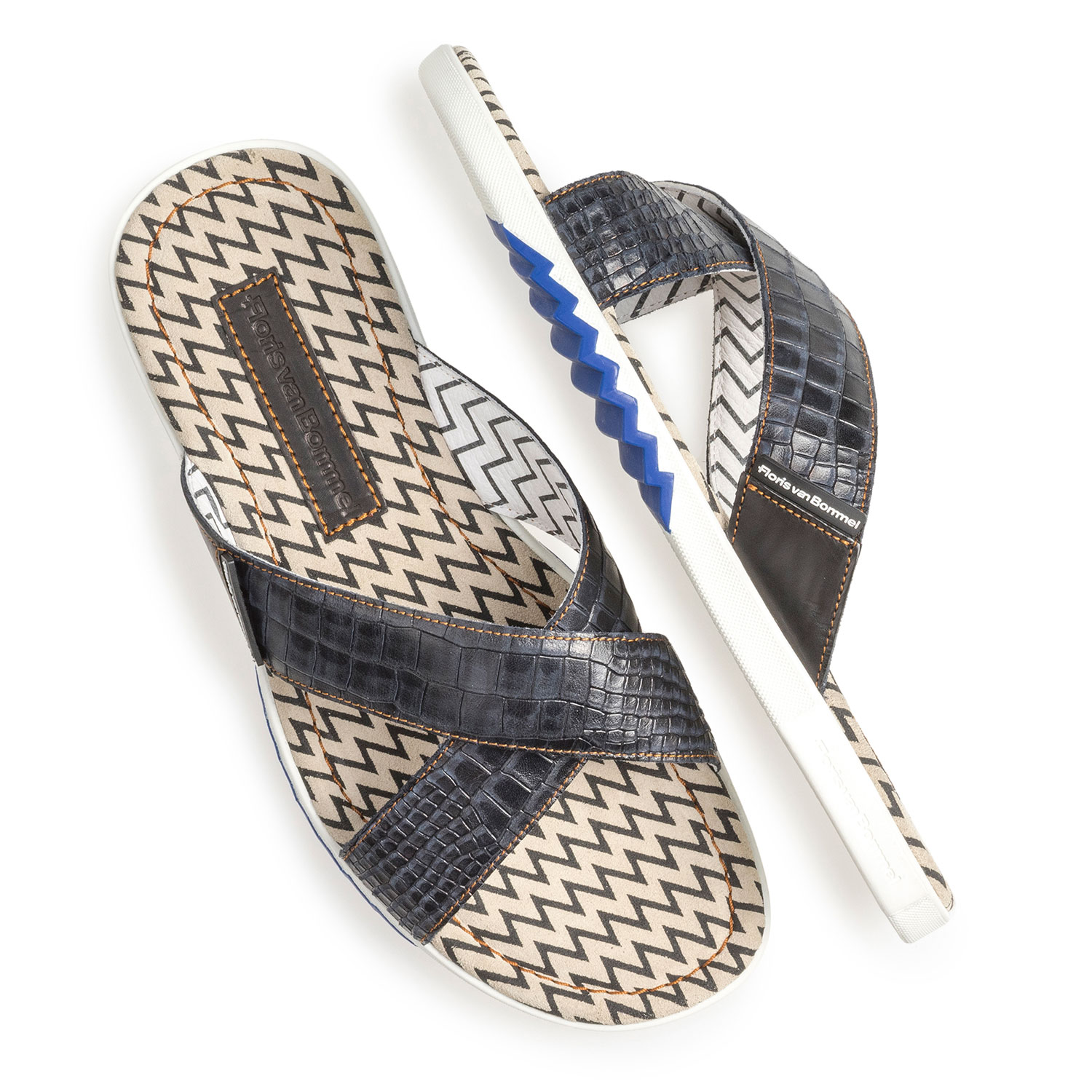 20200/12 - Dark blue nubuck leather cross strap slipper with print