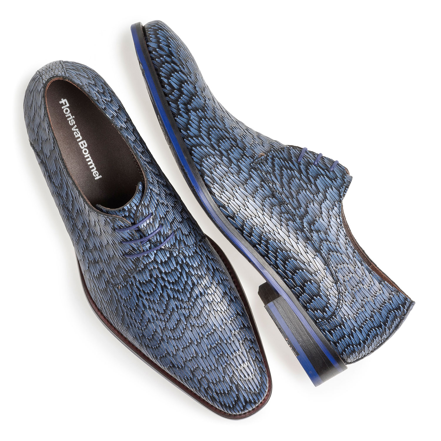 18159/21 - Blue leather lace shoe with print