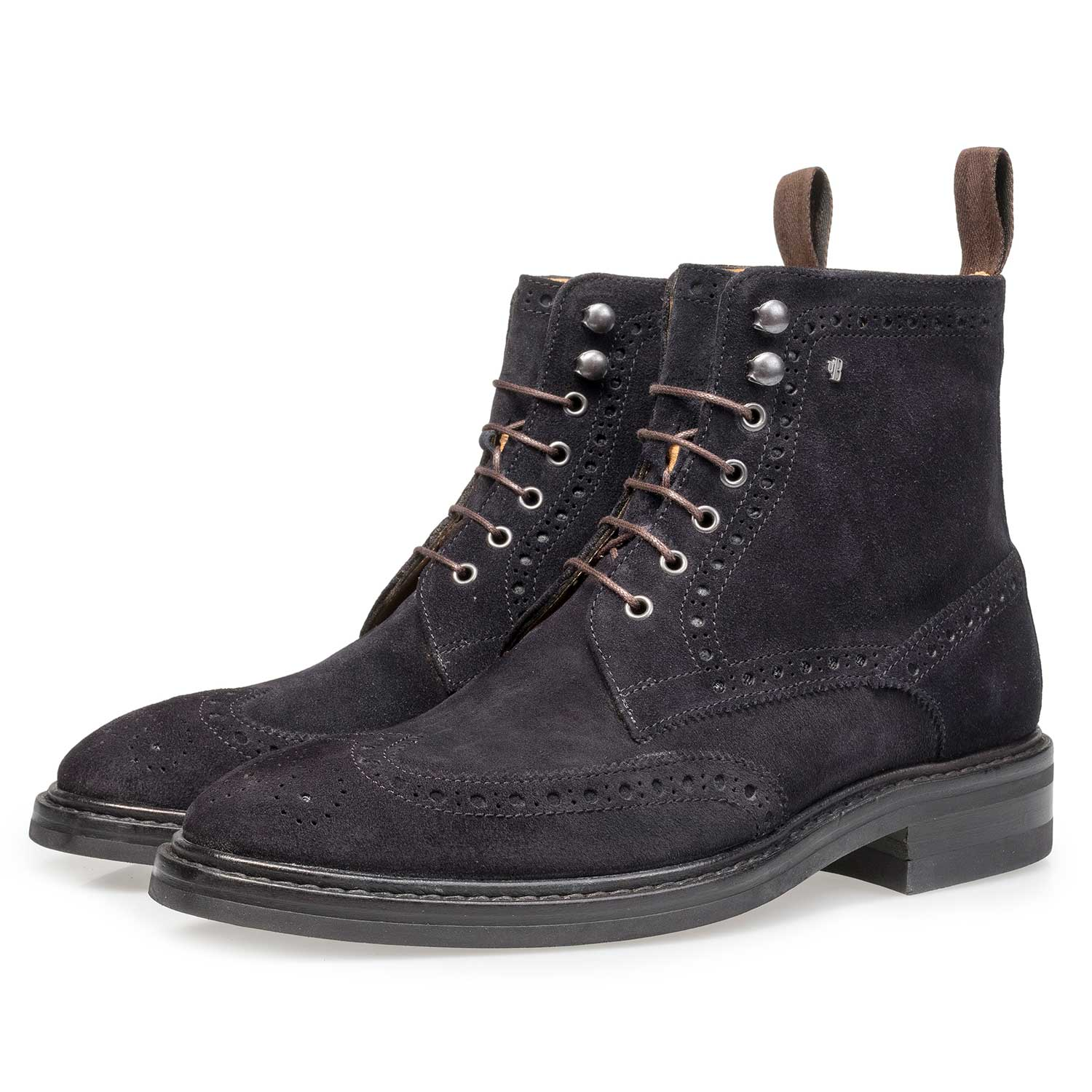 10165/01 - Blue suede leather brogue lace boot