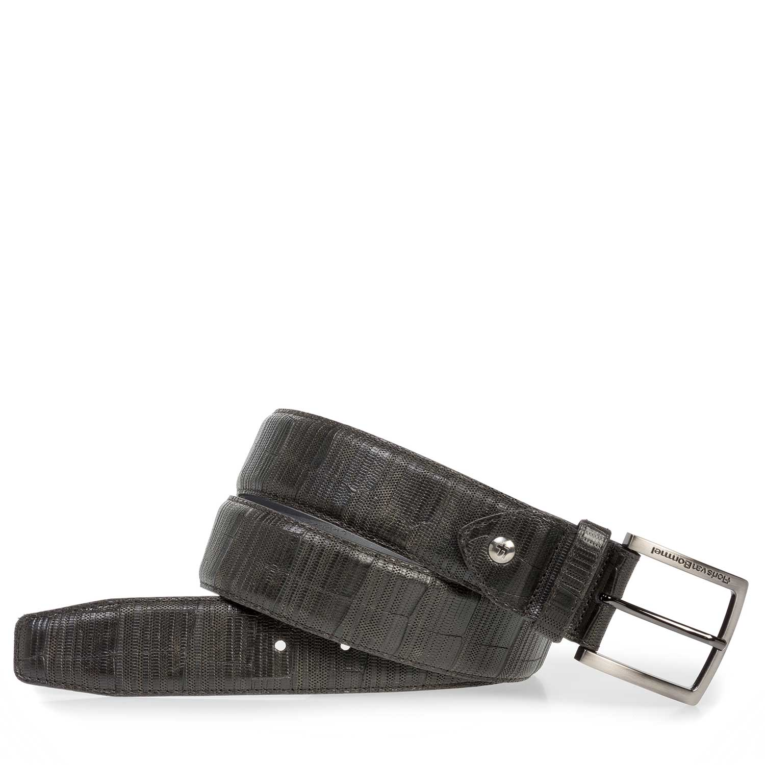 75202/39 - Dark green leather belt with print