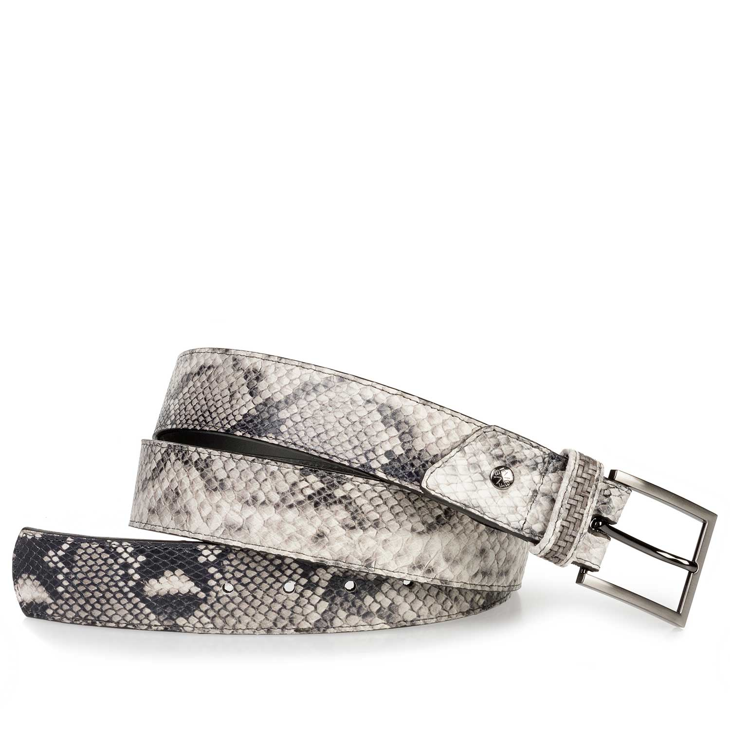 75179/00 - Grey leather belt with a snake print