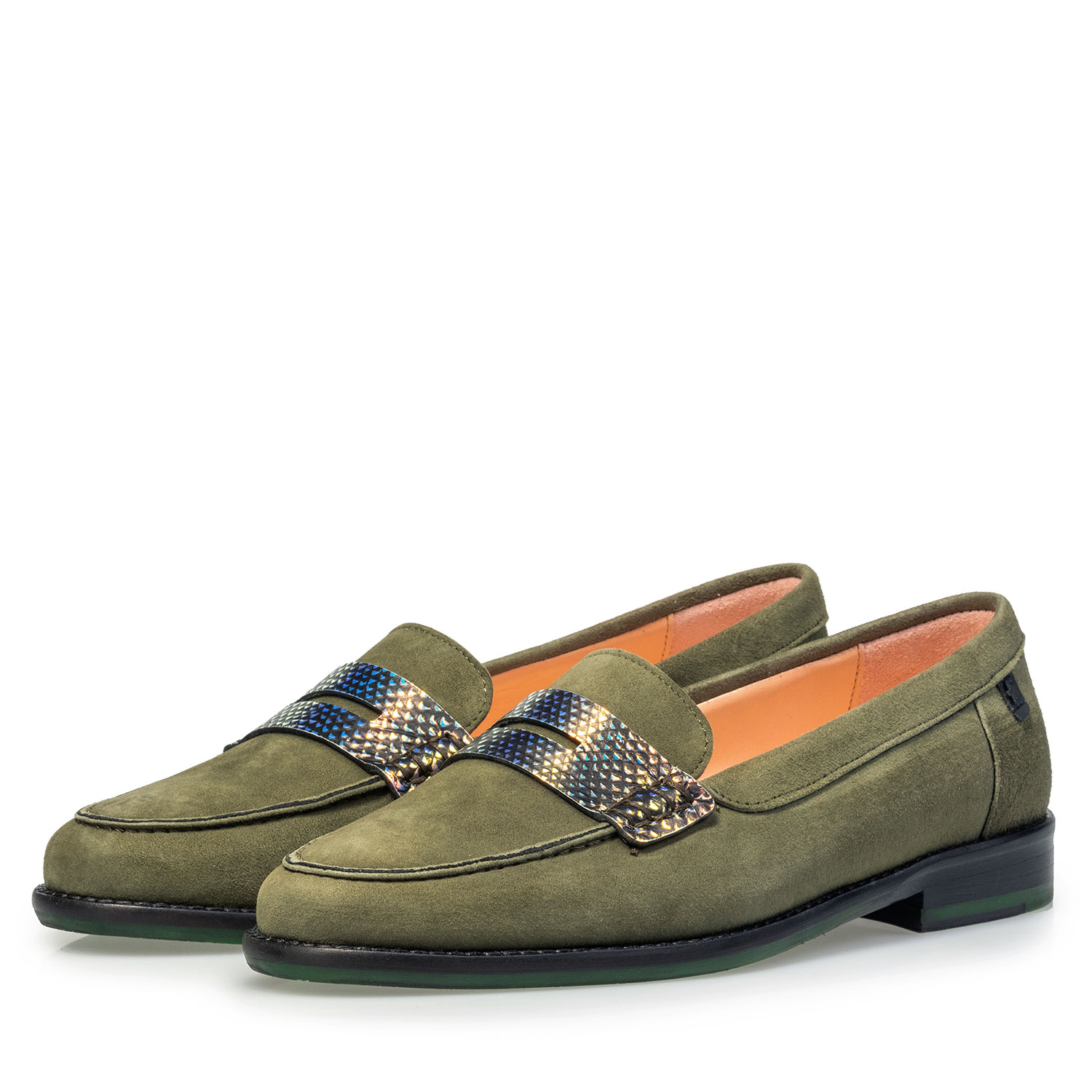 85429/01 - Olive green suede leather loafer