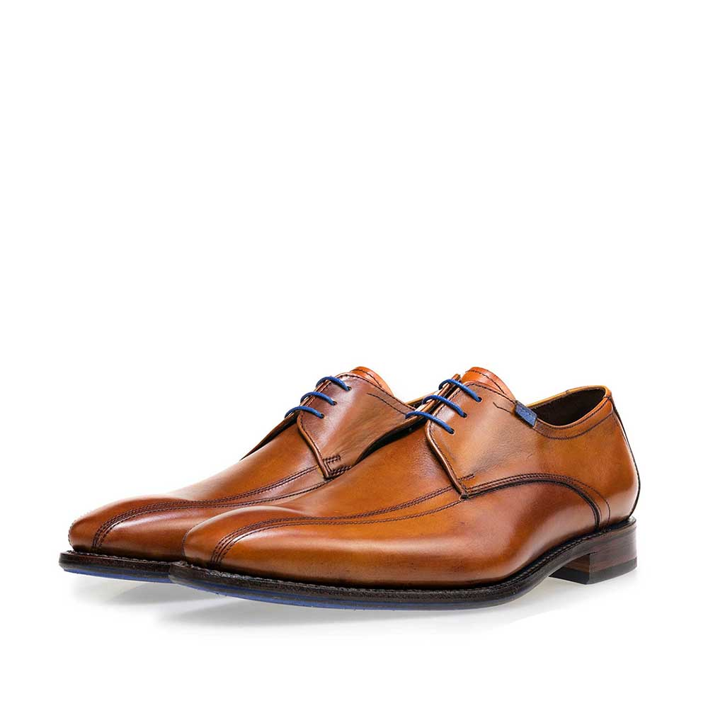 14470/00 - Floris van Bommel cognac leather men's lace-up shoe