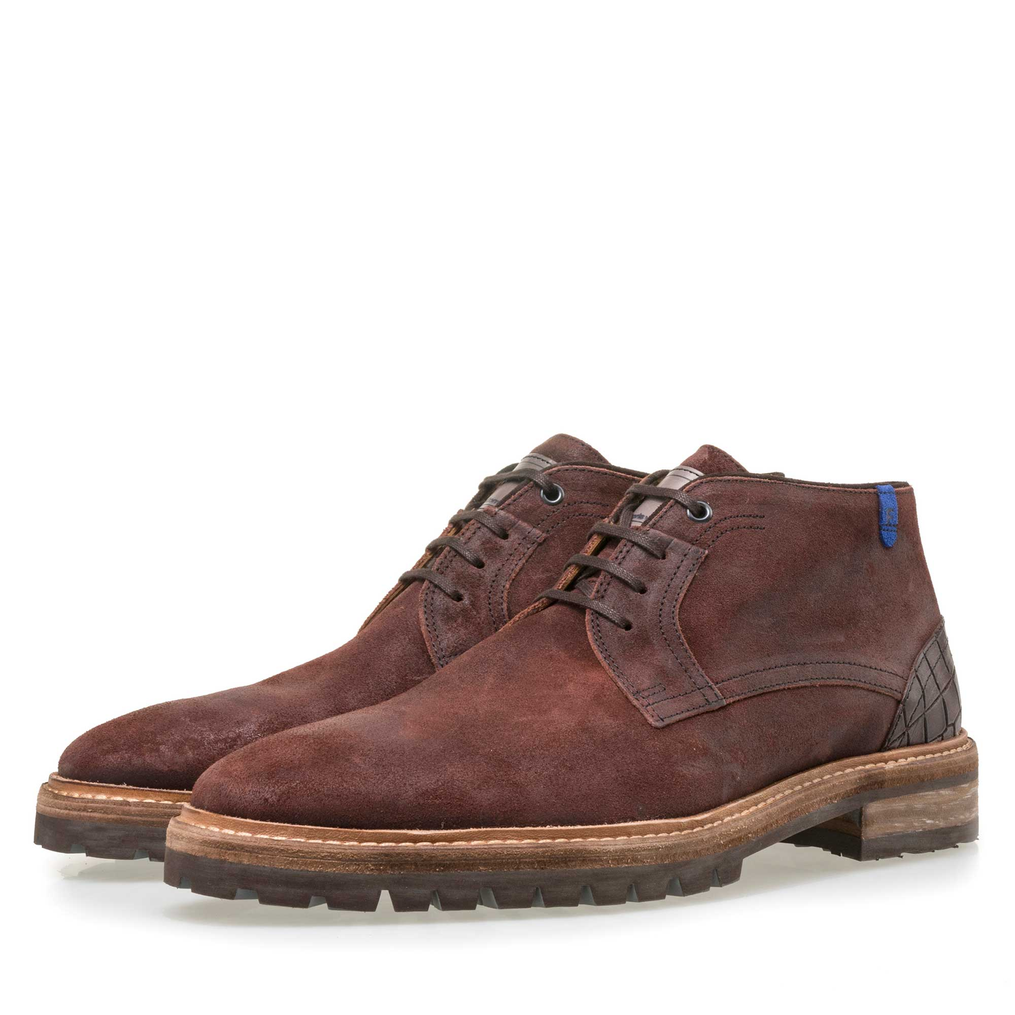 10970/03 - Floris van Bommel men's red-brown suede leather lace boot