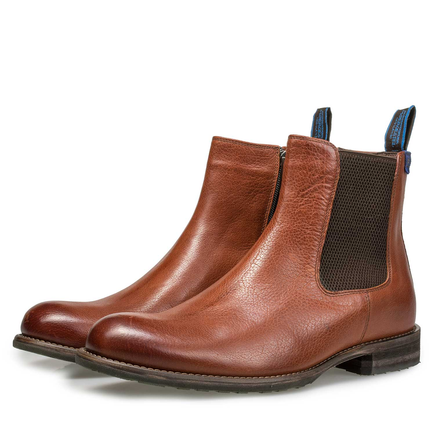 10289/02 - Wool lined cognac-coloured leather Chelsea boot
