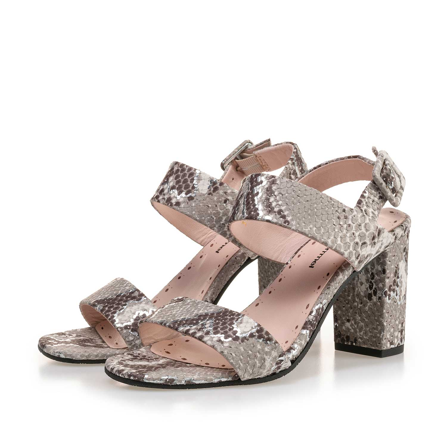 85228/01 - Taupe-coloured leather sandal with snake print