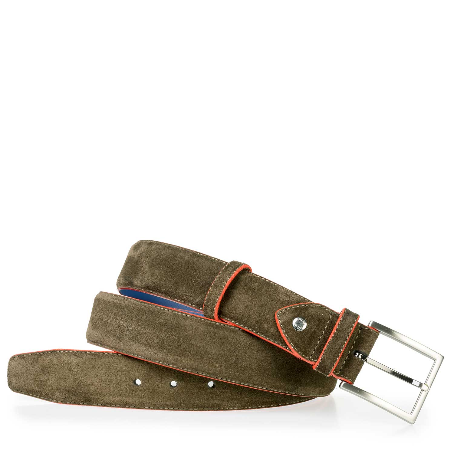 75037/16 - Olive green calf suede leather belt
