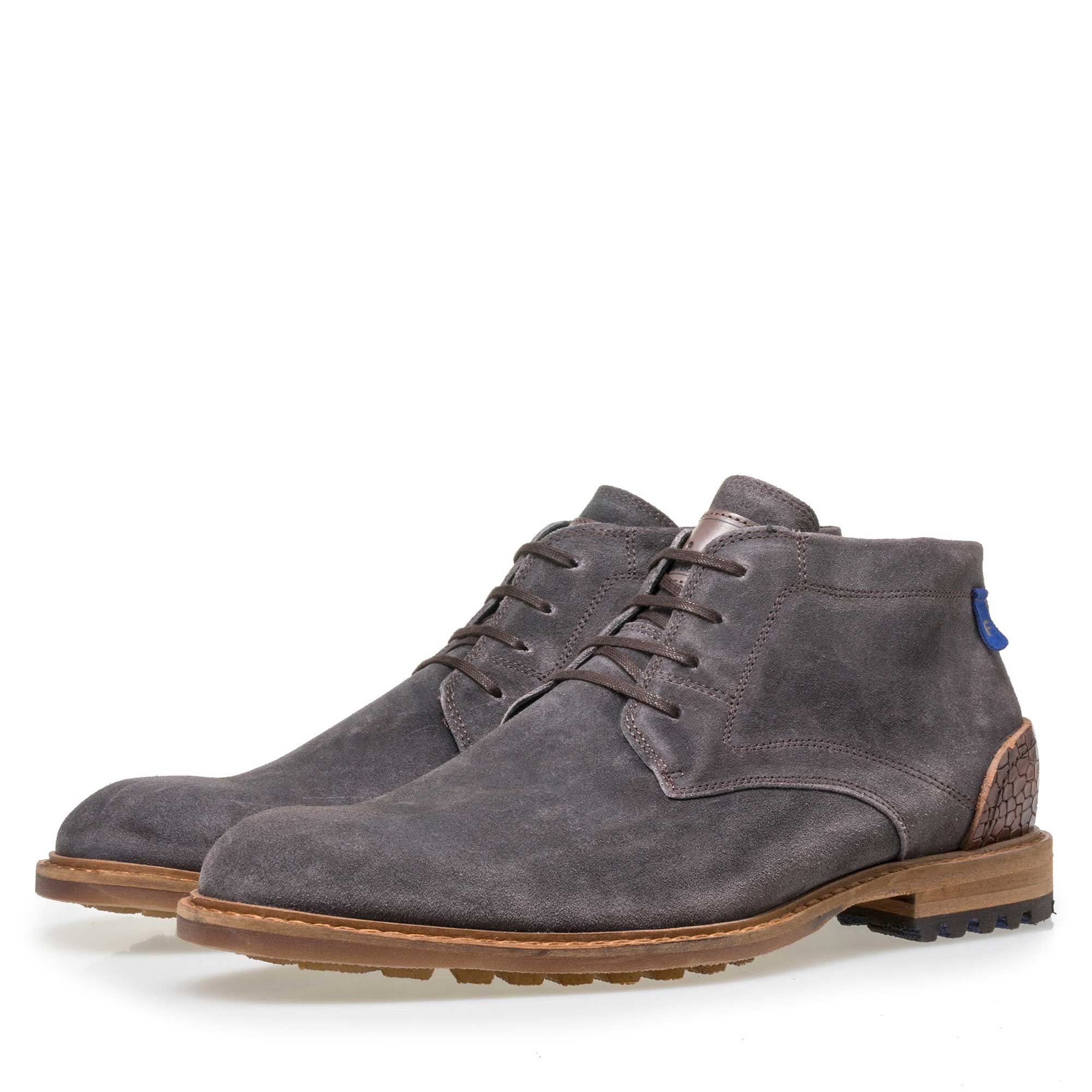 10907/04 - Floris van Bommel men's grey suede leather lace boot