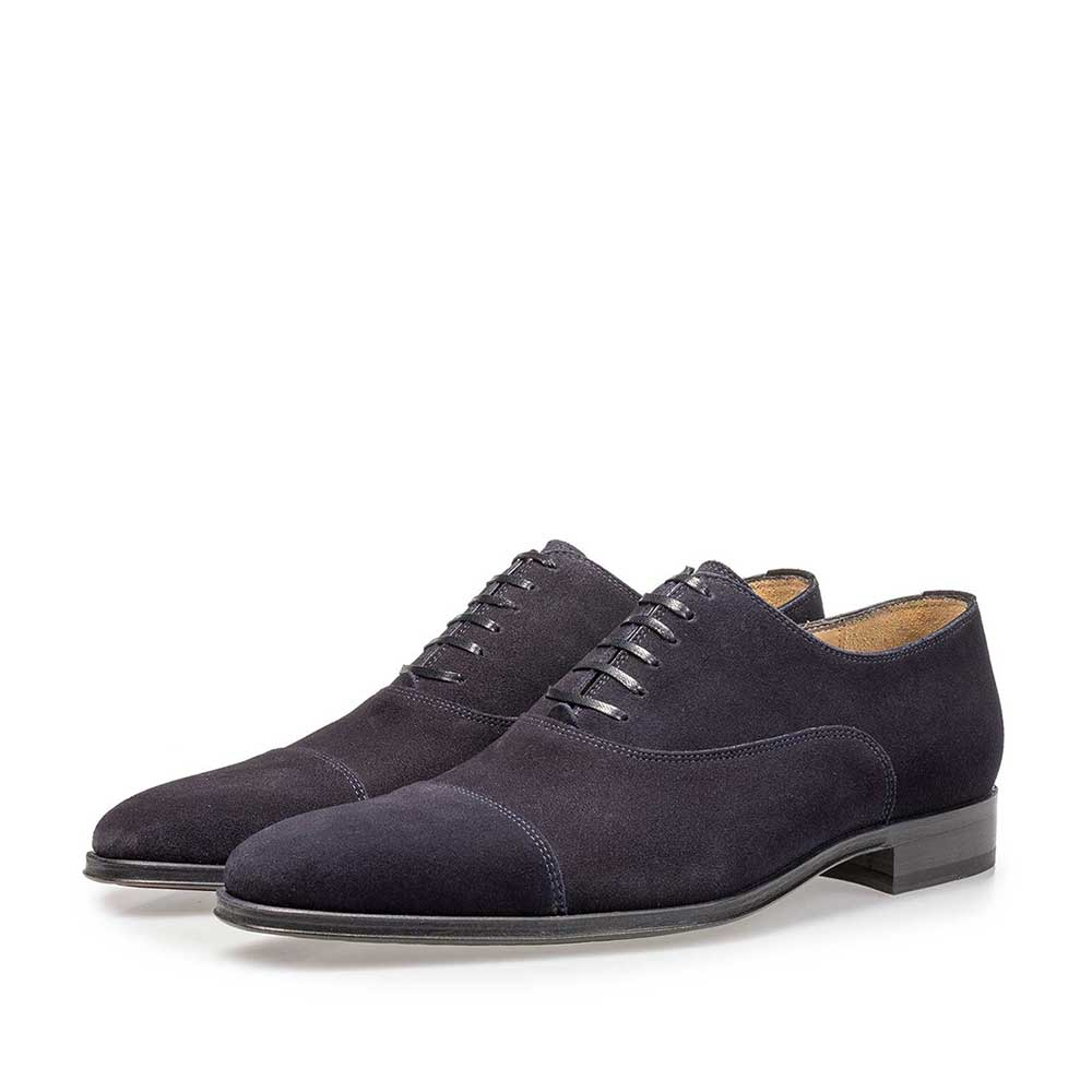 16199/06 - Dark blue calf suede leather lace shoe