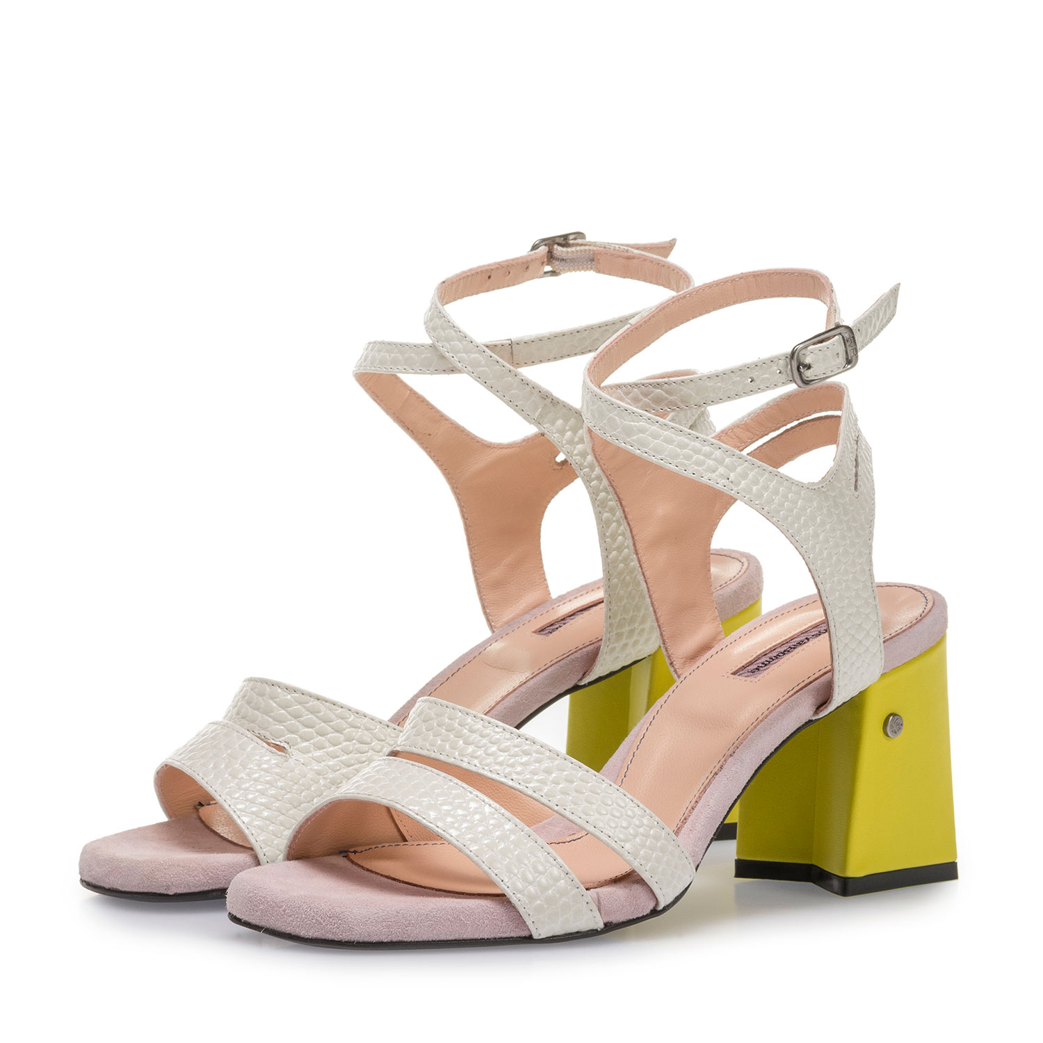 85943/04 - Off-white high-heeled sandals with pink and yellow details