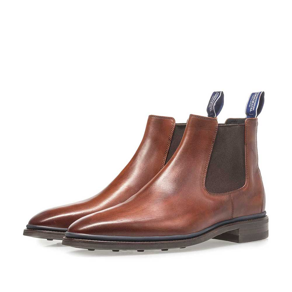 10669/01 - Dark cognac-coloured calf leather Chelsea boot