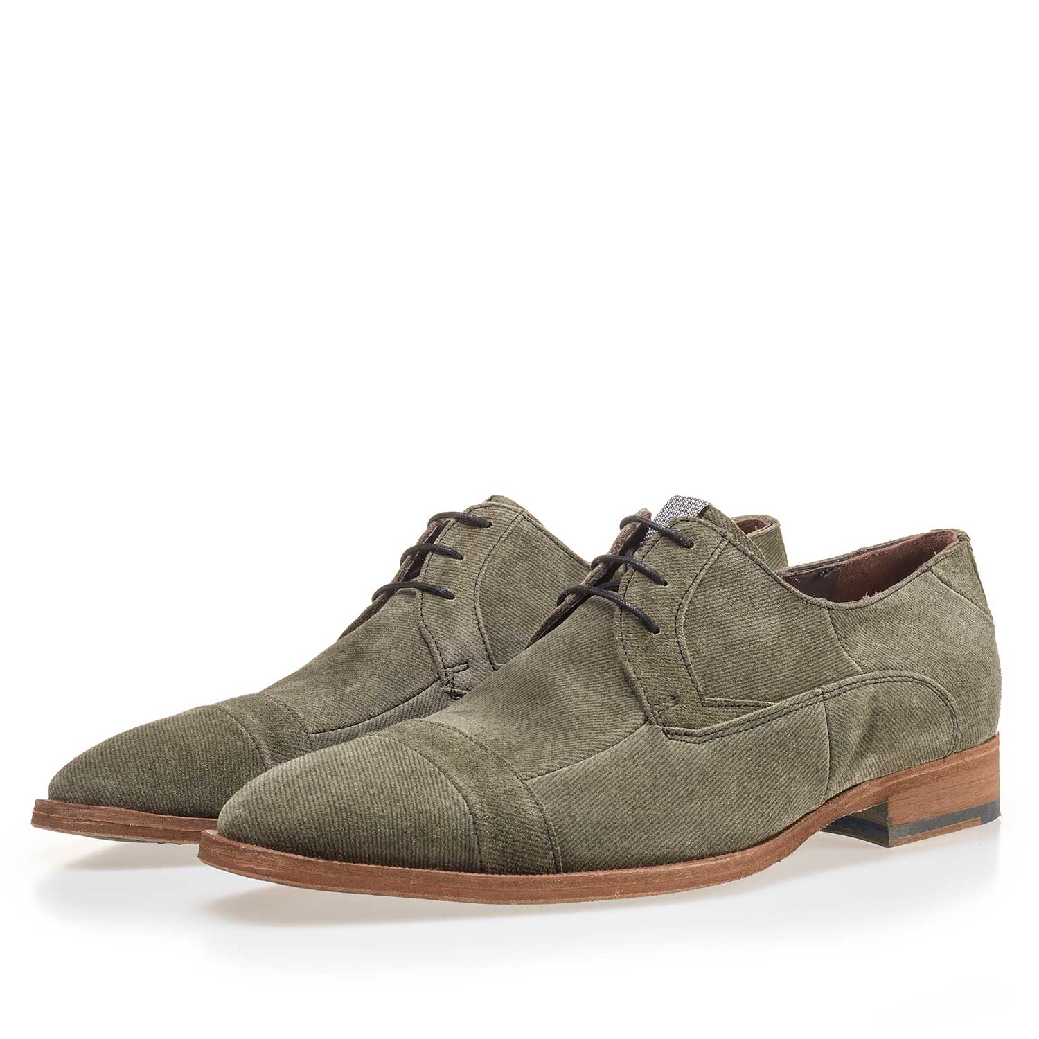 14136/00 - Olive green suede leather lace shoe