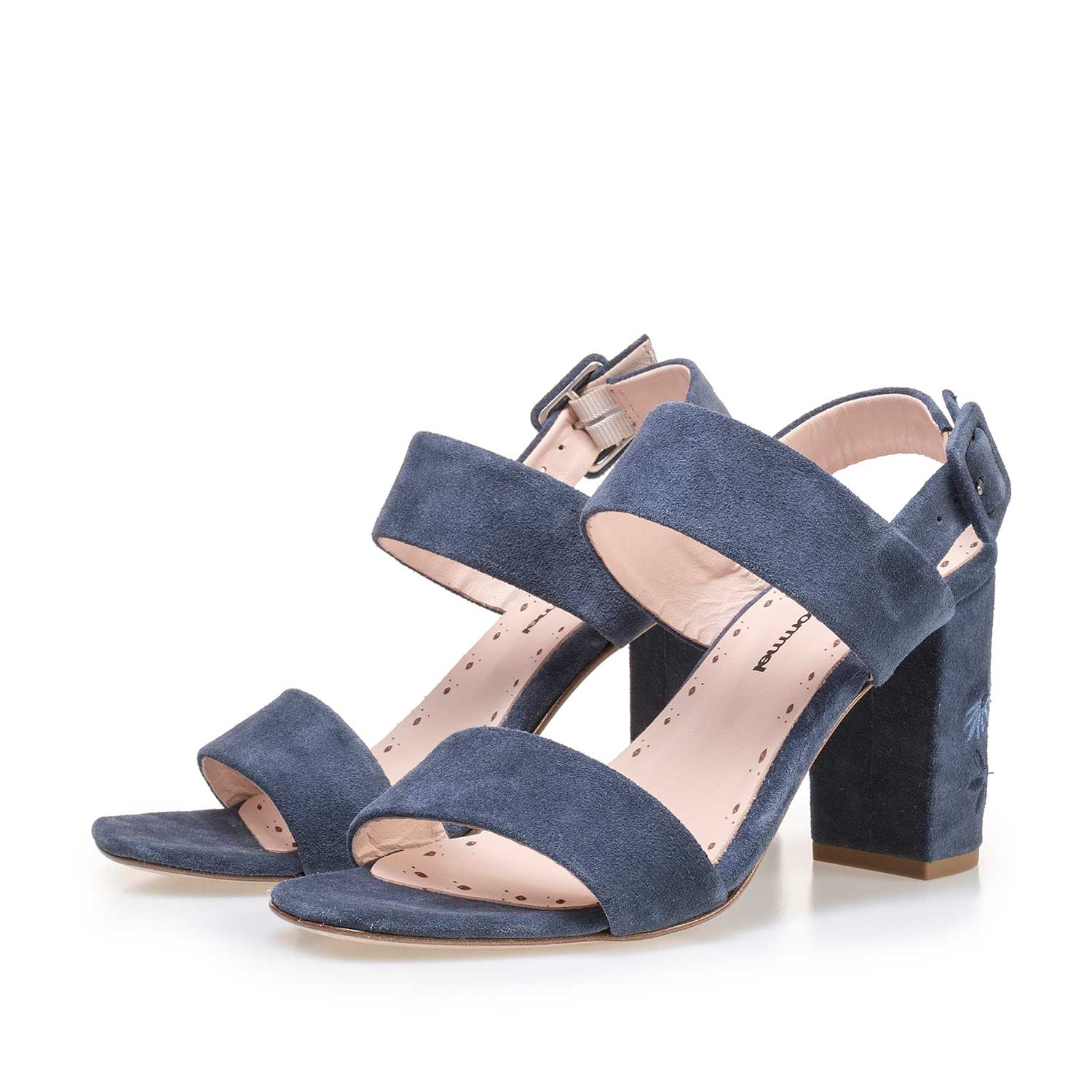 85239/00 - Denim blue calf's suede leather sandal with floral embroidery stitching
