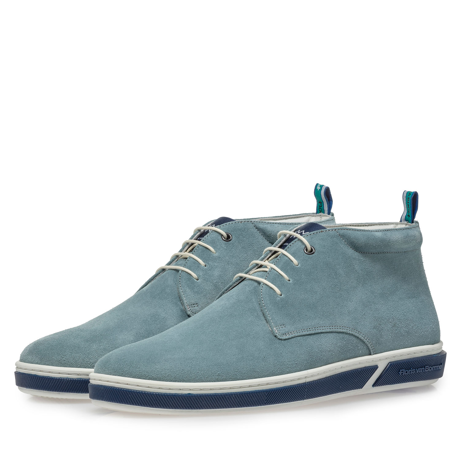 20350/03 - Light blue suede leather lace boot