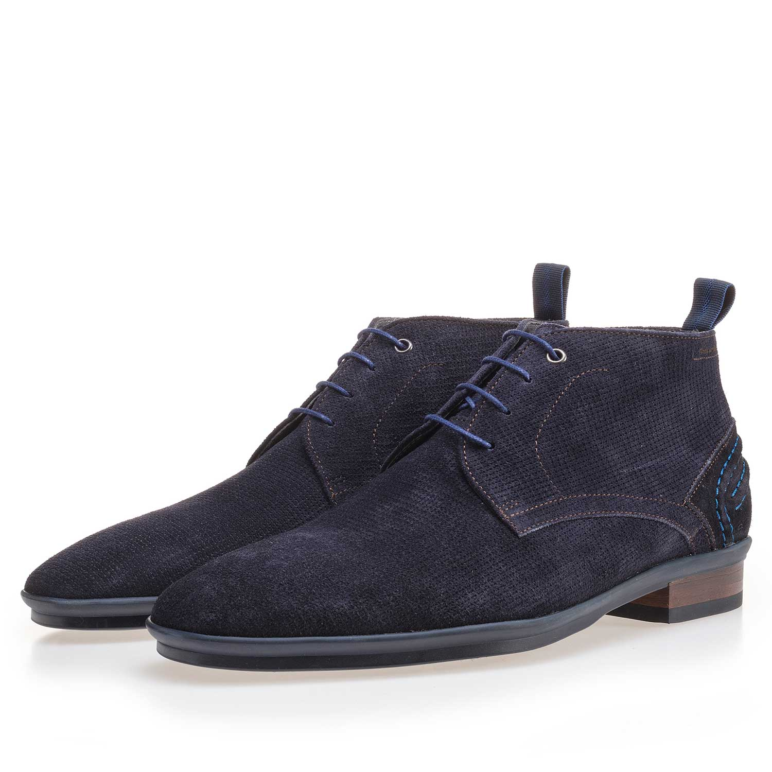 10960/14 - Blue suede leather lace boot with pattern