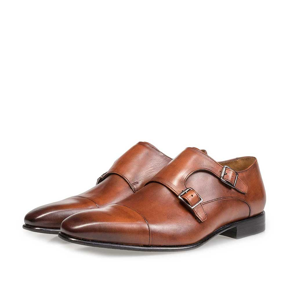 12295/00 - Cognac-coloured calf leather monk strap